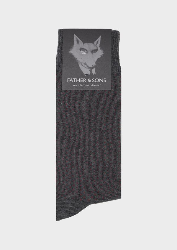 Chaussettes en coton mélangé gris à pois bordeaux - Father and Sons 40775