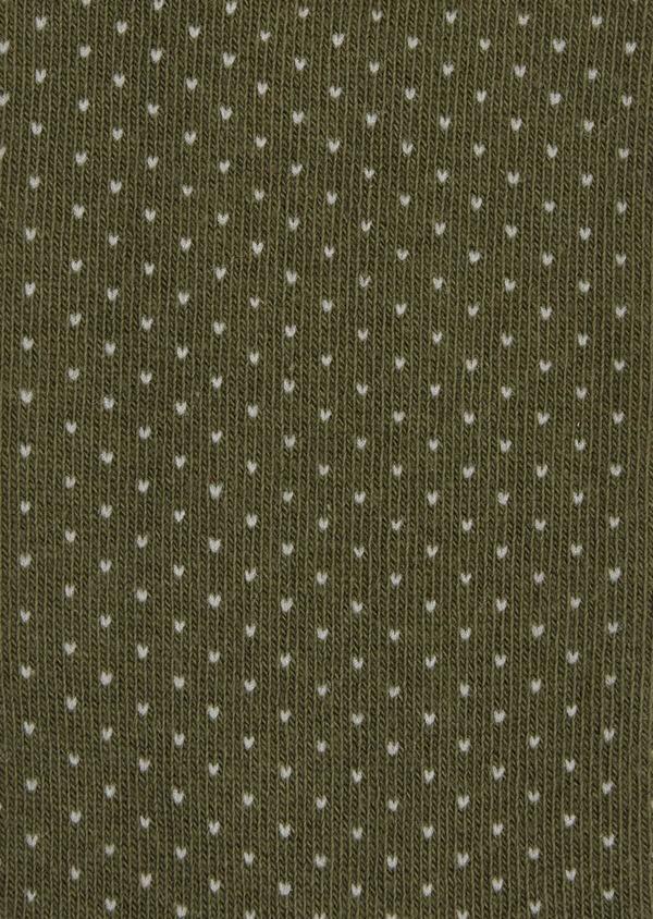 Chaussettes en coton melangé vert kaki à pois blancs - Father and Sons 37700