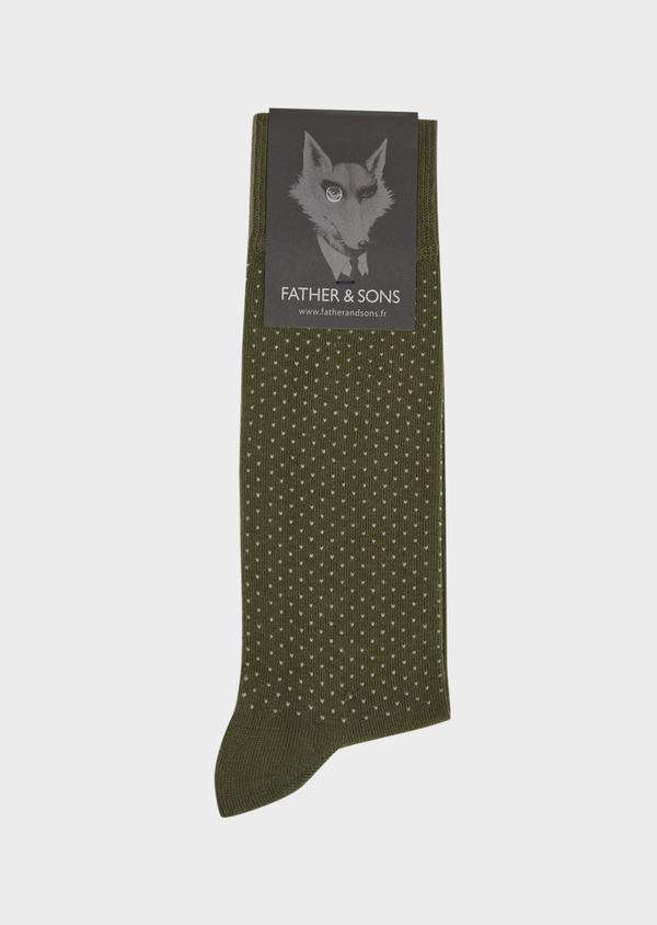 Chaussettes en coton melangé vert kaki à pois blancs - Father and Sons 37699