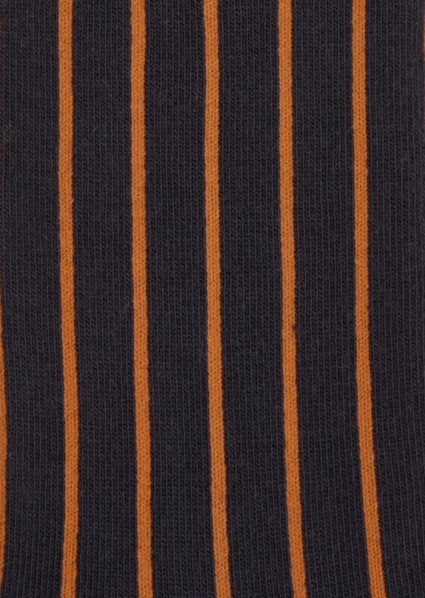 Chaussettes en coton mélangé bleu foncé à rayures orange - Father and Sons 37694