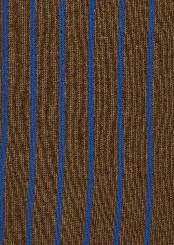 Chaussettes en coton melangé marron foncé à rayures bleues - Father and Sons 37708