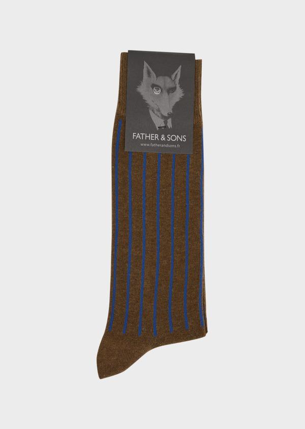 Chaussettes en coton melangé marron foncé à rayures bleues - Father and Sons 37707