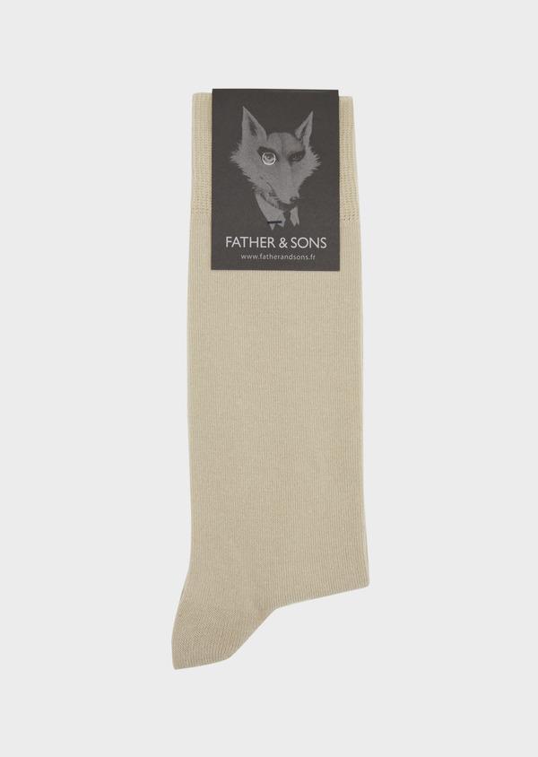Chaussettes en coton mélangé uni beige clair - Father and Sons 37681
