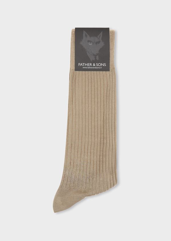 Chaussettes en coton fil d'Ecosse uni beige - Father and Sons 37733