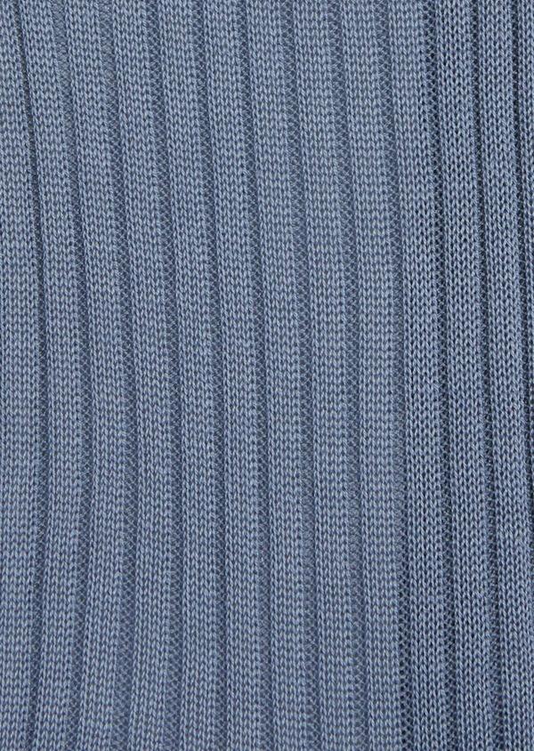Chaussettes en coton fil d'Ecosse uni bleu chambray - Father and Sons 37736