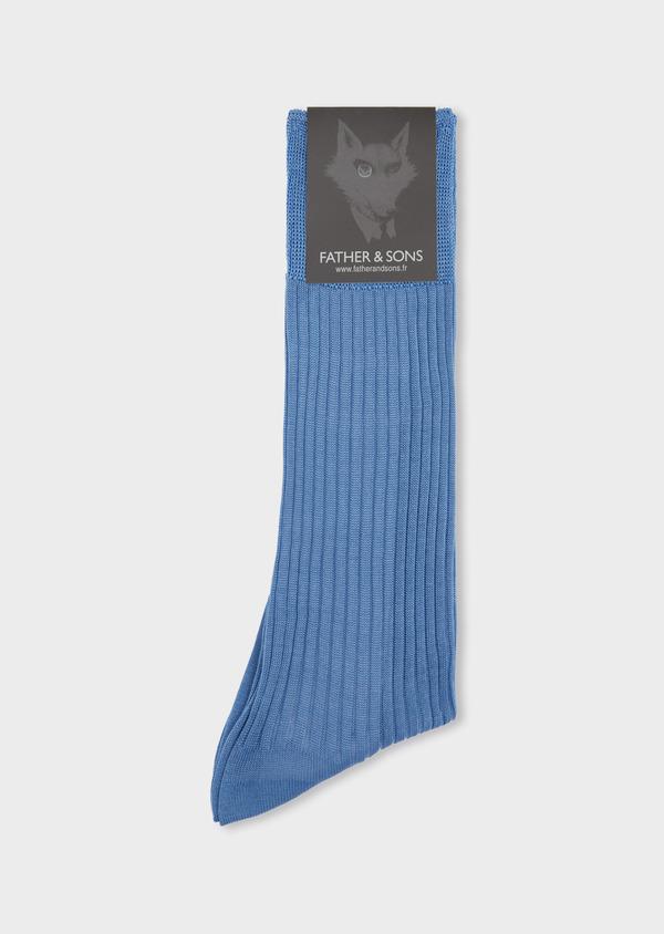 Chaussettes en coton fil d'Ecosse uni bleu - Father and Sons 37741