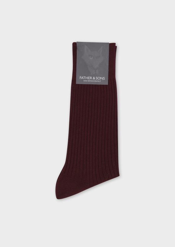 Chaussettes en coton fil d'Ecosse uni bordeaux - Father and Sons 36537