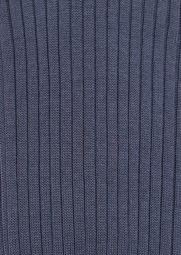 Chaussettes en coton fil d'Ecosse uni bleu chambray - Father and Sons 34826