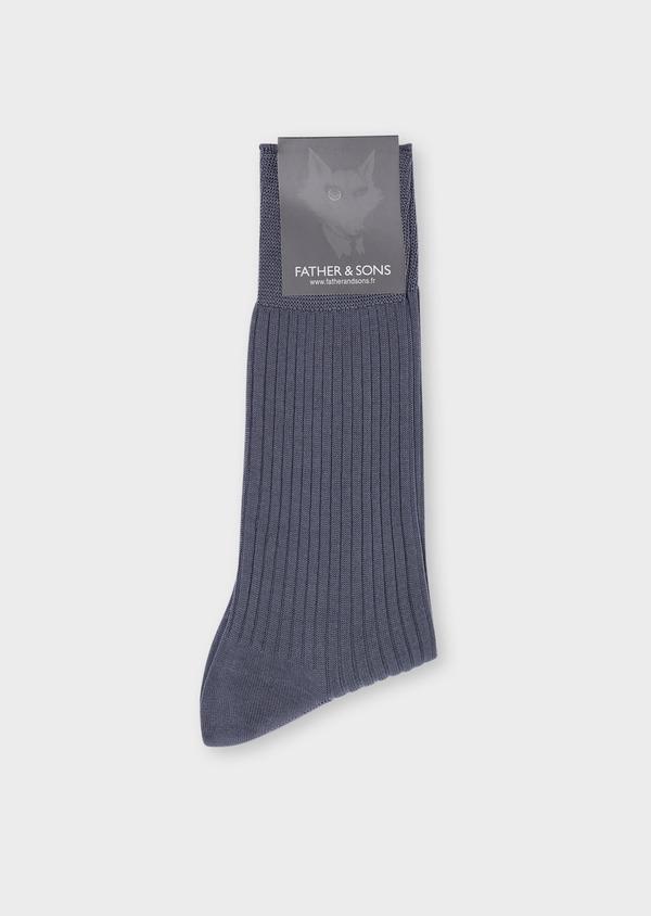Chaussettes en coton fil d'Ecosse uni bleu chambray - Father and Sons 34825