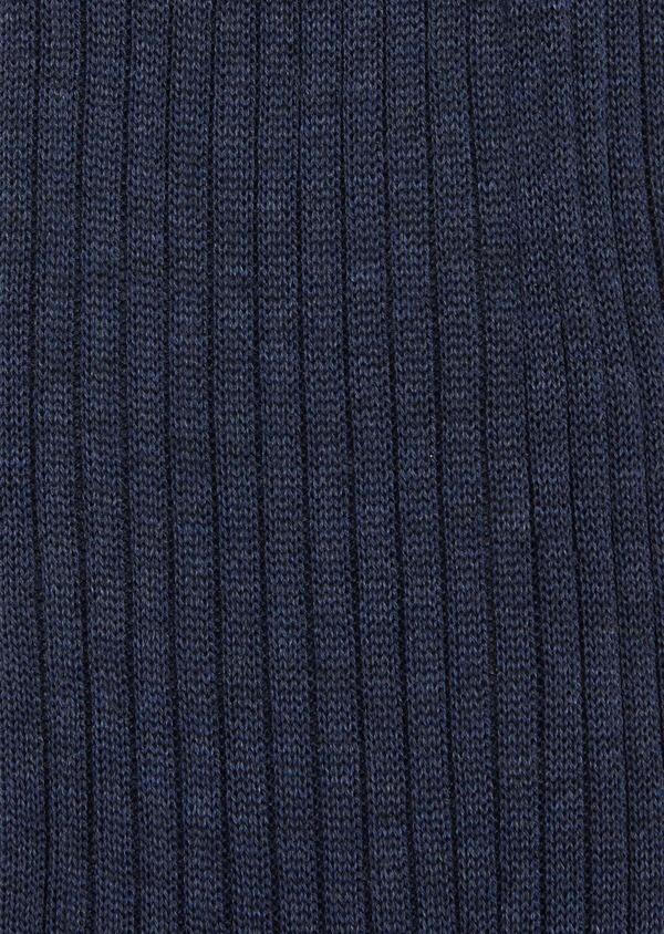 Chaussettes en coton fil d'Ecosse uni bleu indigo - Father and Sons 37738
