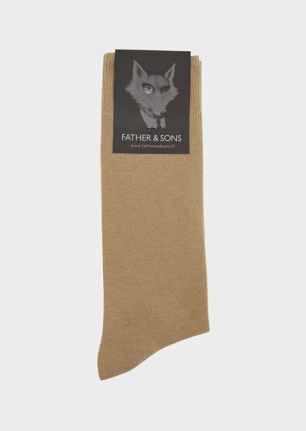 Chaussettes en coton mélangé uni marron - Father and Sons 37677