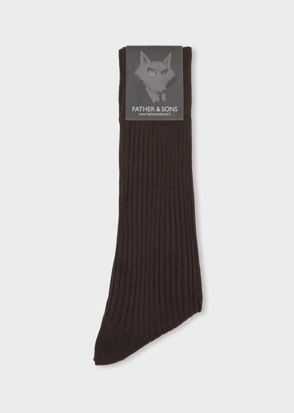 Chaussettes en coton fil d'Ecosse uni marron - Father and Sons 37739