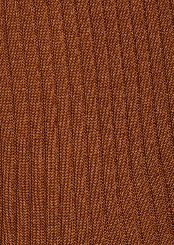 Chaussettes en coton fil d'Ecosse uni cognac - Father and Sons 40784