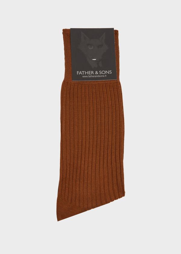 Chaussettes en coton fil d'Ecosse uni cognac - Father and Sons 40783