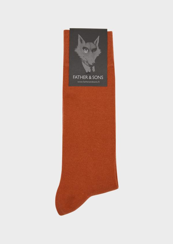 Chaussettes en coton mélangé uni orange foncé - Father and Sons 37679