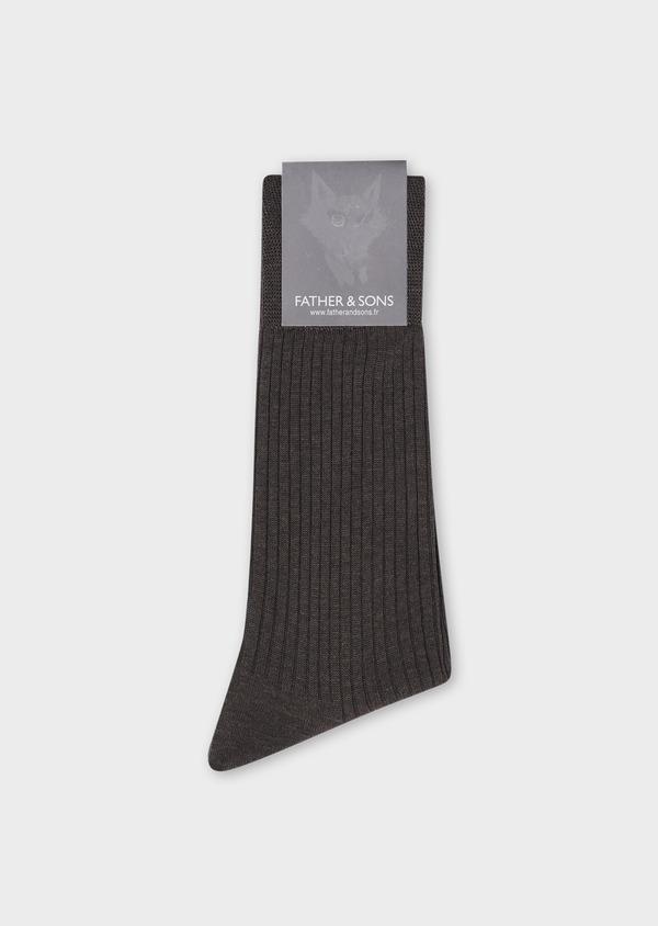 Chaussettes en coton fil d'Ecosse uni taupe - Father and Sons 34827