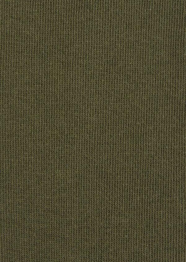 Chaussettes en coton mélangé uni vert kaki - Father and Sons 37672