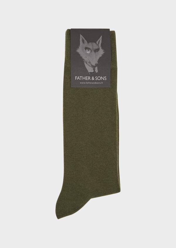 Chaussettes en coton mélangé uni vert kaki - Father and Sons 37671