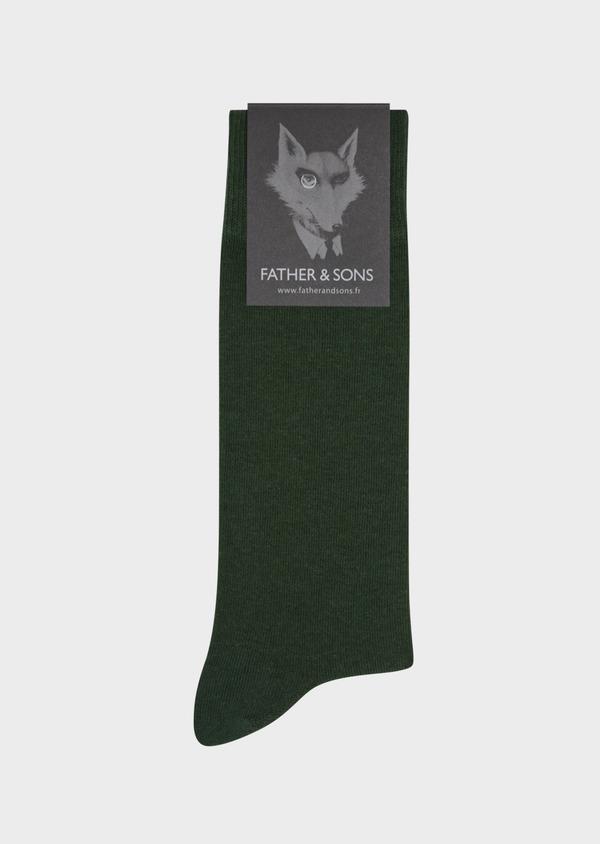 Chaussettes en coton mélangé uni vert - Father and Sons 36270