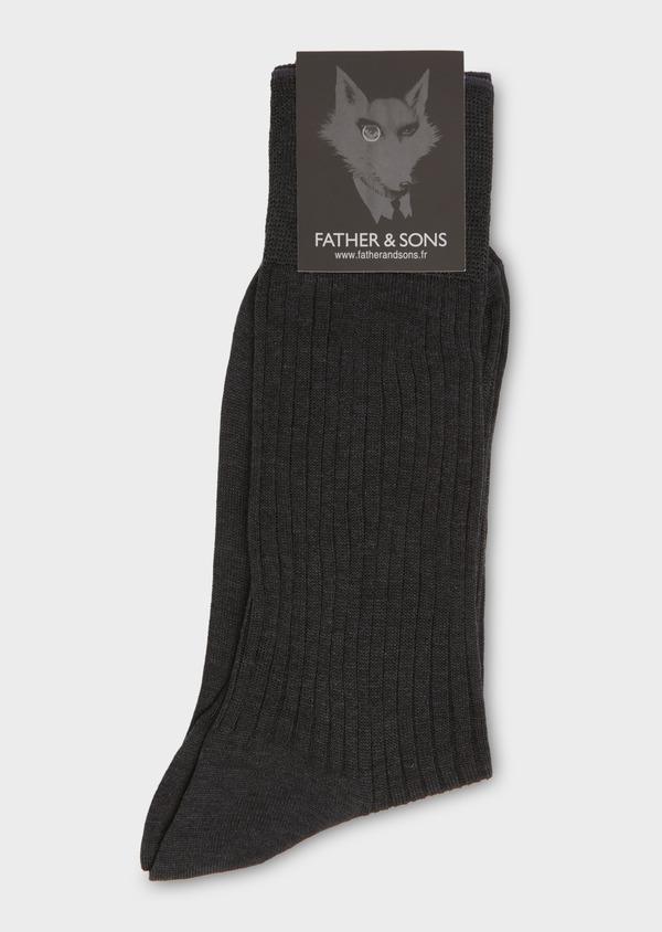 Chaussettes en coton fil d'Ecosse uni gris anthracite chiné - Father and Sons 18145