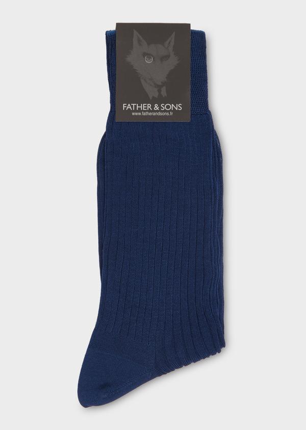 Chaussettes en coton fil d'Ecosse uni bleu indigo - Father and Sons 18149