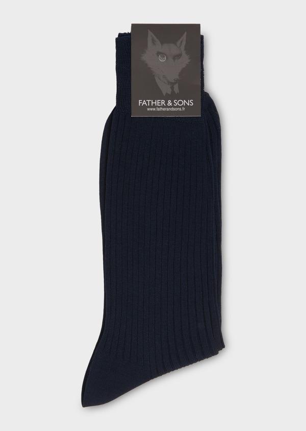 Chaussettes en coton fil d'Ecosse uni marine - Father and Sons 18133