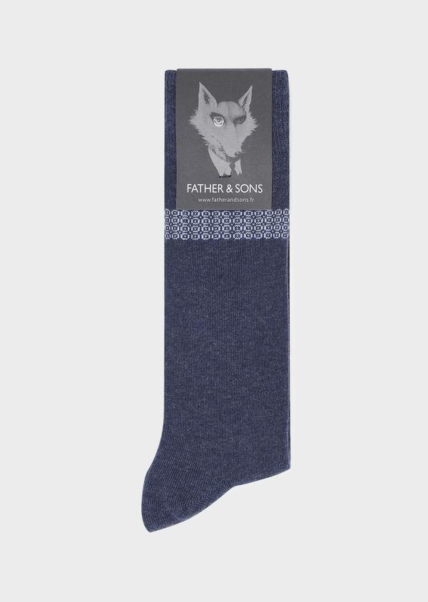 Chaussettes en coton mélangé bleu indigo à motif fantaisie bleu ciel et camel - Father and Sons 32148