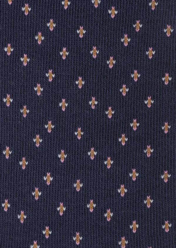 Chaussettes en coton mélangé bleu marine à motif fleuri cognac, rose et gris clair - Father and Sons 32143