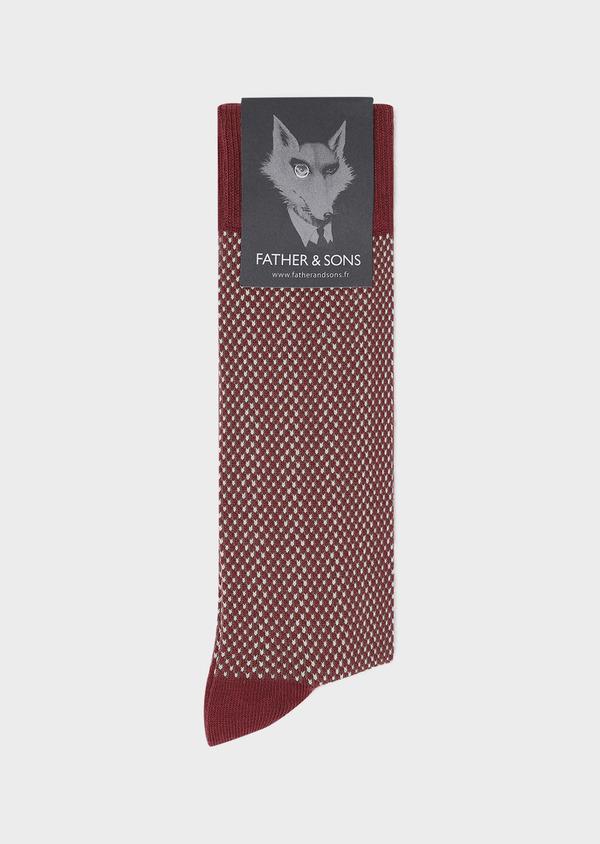 Chaussettes en coton mélangé rouge foncé à motifs géométriques marron et beige - Father and Sons 32162