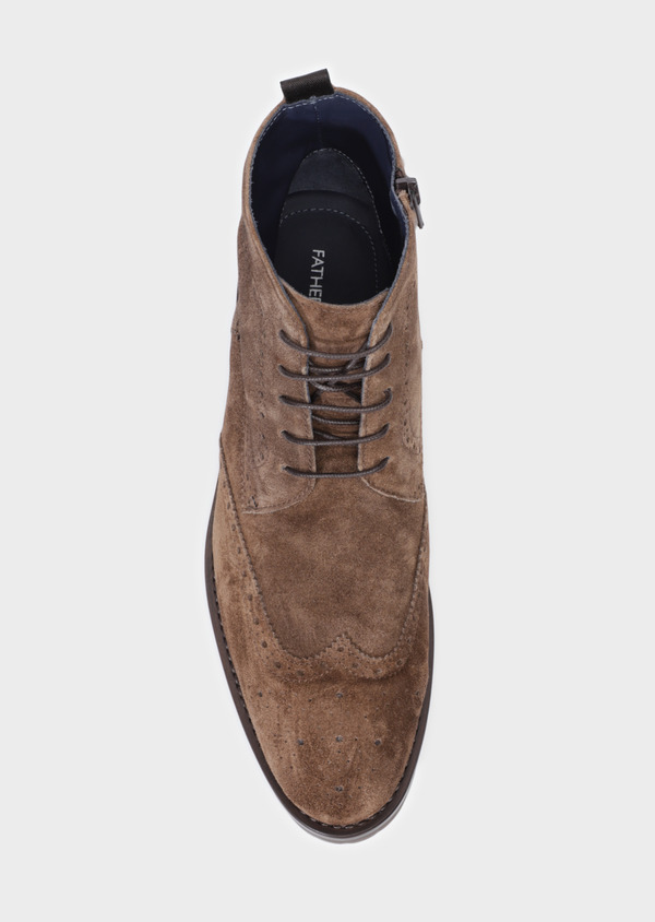 Boots à lacets en daim taupe - Father and Sons 34865