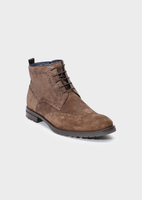 Boots à lacets en daim taupe - Father and Sons 34864