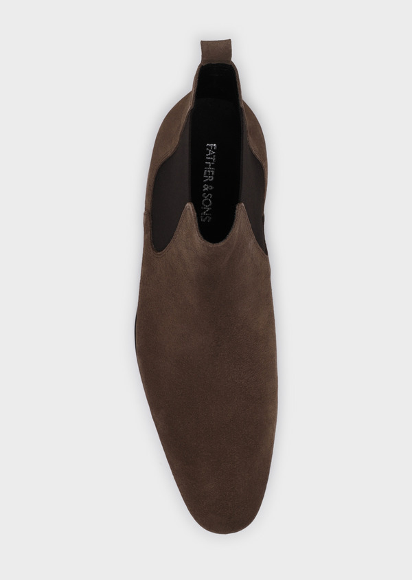 Bottines Chelsea en cuir velours taupe - Father and Sons 34871