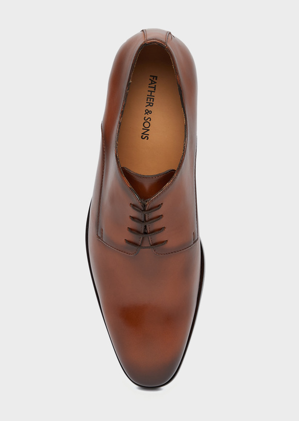 Derbies en cuir lisse camel - Father and Sons 38464
