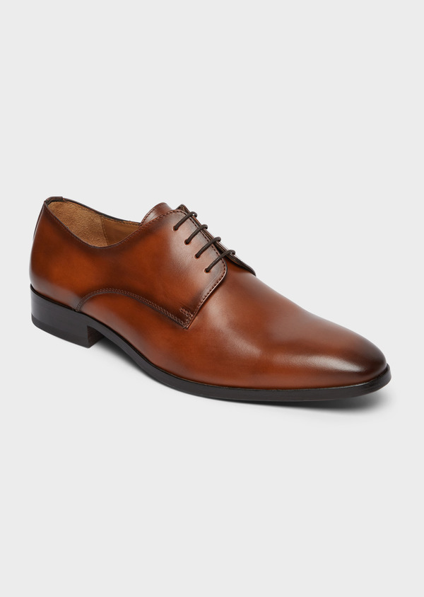 Derbies en cuir lisse camel - Father and Sons 38463