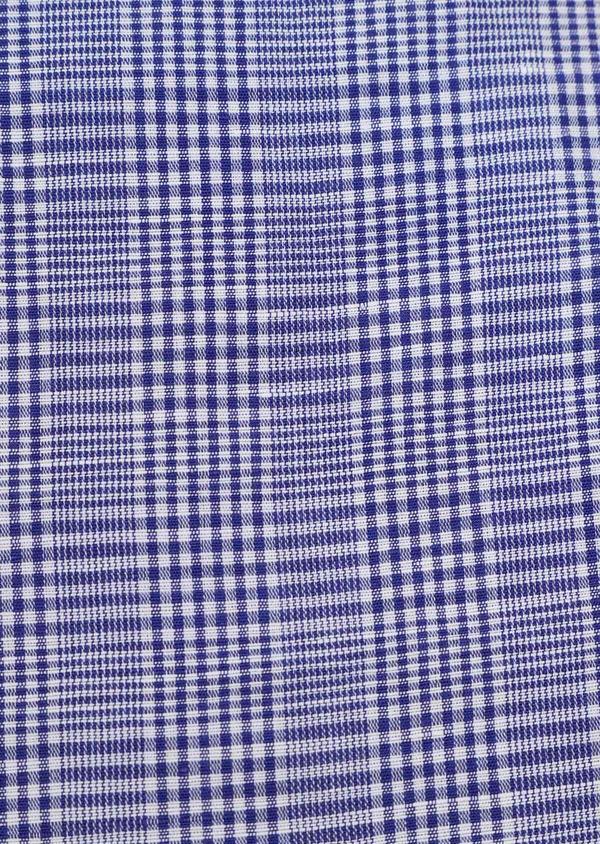 Chemise sport Slim en lin et coton bleu indigo Prince de Galles - Father and Sons 32503