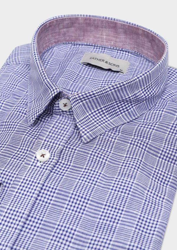 Chemise sport Slim en lin et coton bleu indigo Prince de Galles - Father and Sons 32504