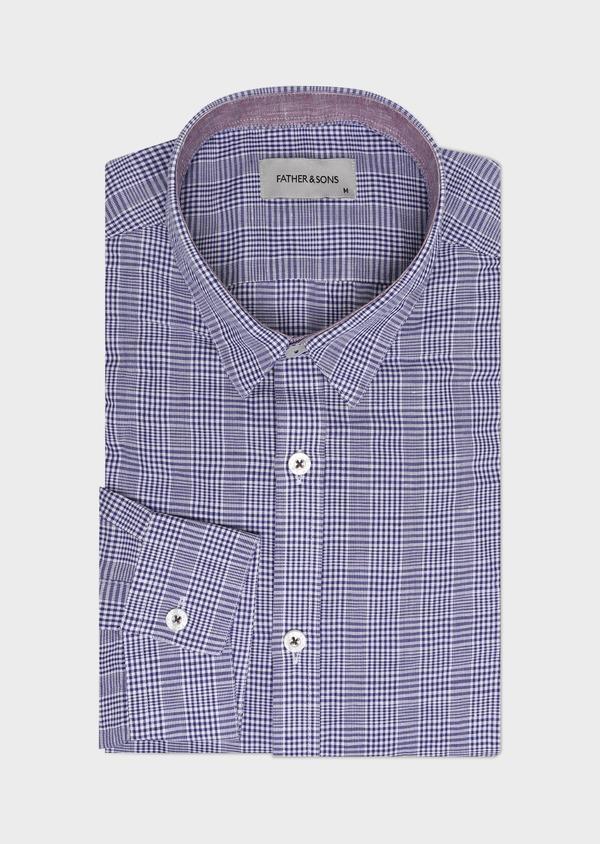 Chemise sport Slim en lin et coton bleu indigo Prince de Galles - Father and Sons 32502
