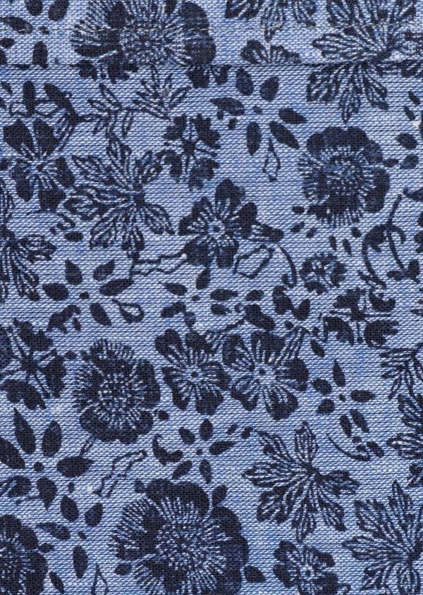 Chemise sport Slim en lin et coton bleu jeans à motif fleuri - Father and Sons 32483