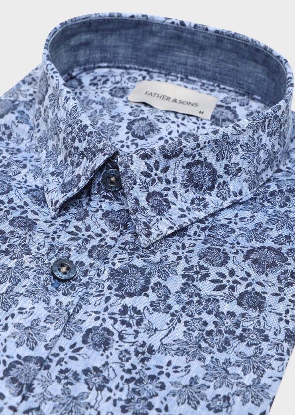 Chemise sport Slim en lin et coton bleu jeans à motif fleuri - Father and Sons 32484