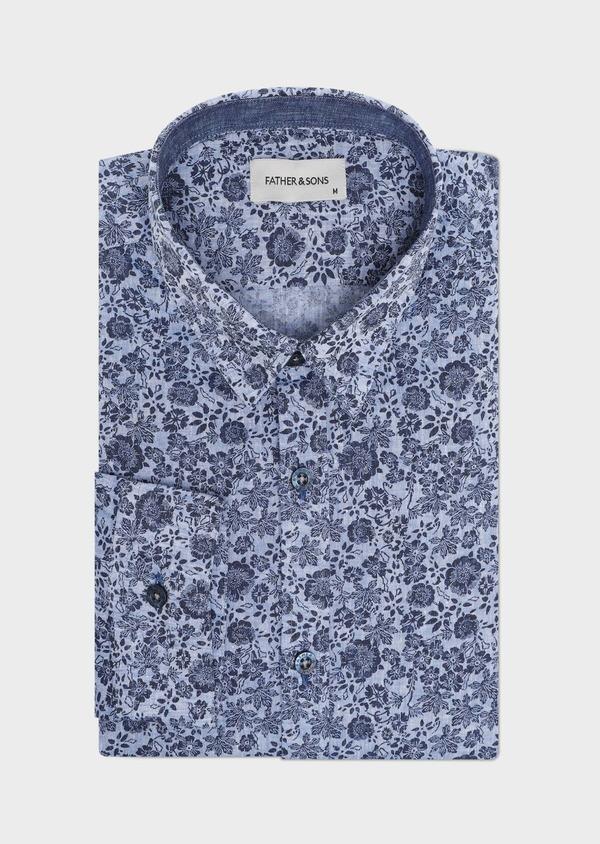 Chemise sport Slim en lin et coton bleu jeans à motif fleuri - Father and Sons 32482