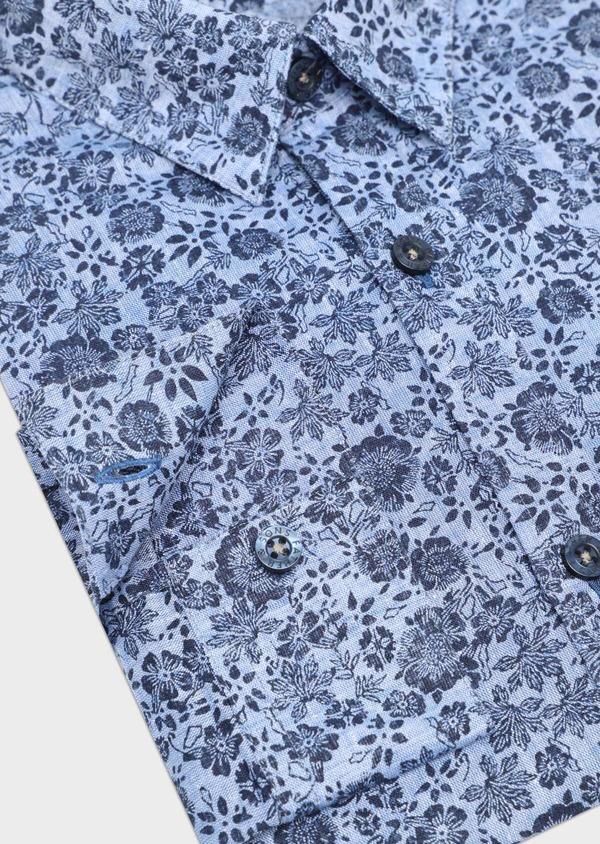 Chemise sport Slim en lin et coton bleu jeans à motif fleuri - Father and Sons 32485