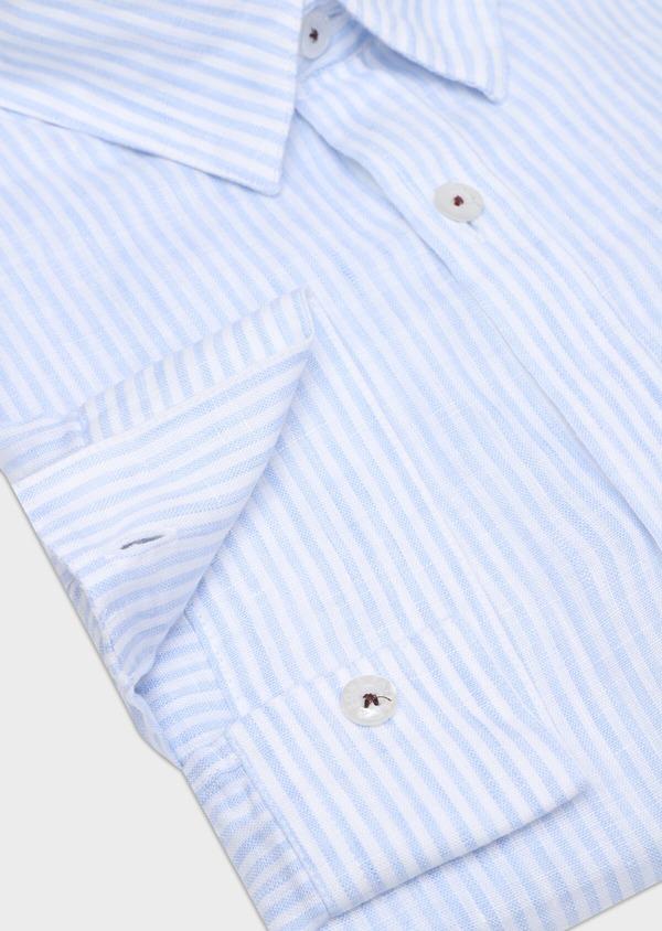 Chemise sport Slim en lin bleu ciel à rayures - Father and Sons 32501