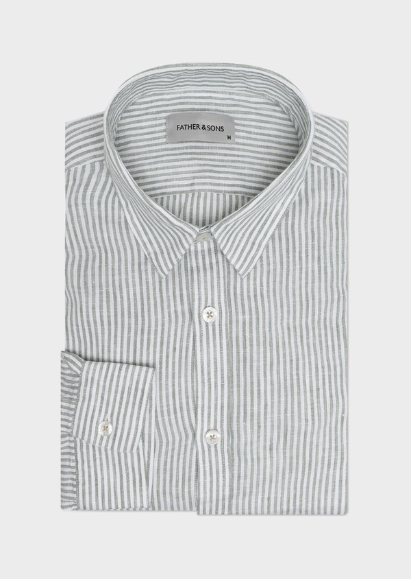 Chemise sport Slim en lin vert à rayures - Father and Sons 32522