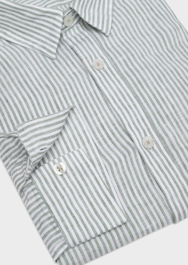 Chemise sport Slim en lin vert à rayures - Father and Sons 32525