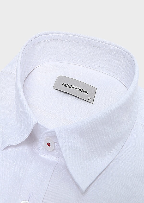 Chemise sport Slim en lin uni blanc - Father and Sons 32476