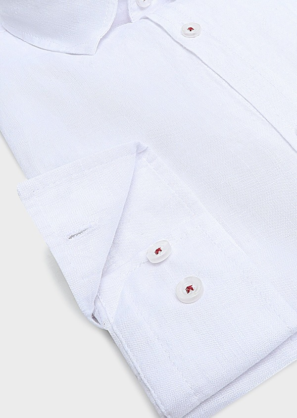Chemise sport Slim en lin uni blanc - Father and Sons 32477