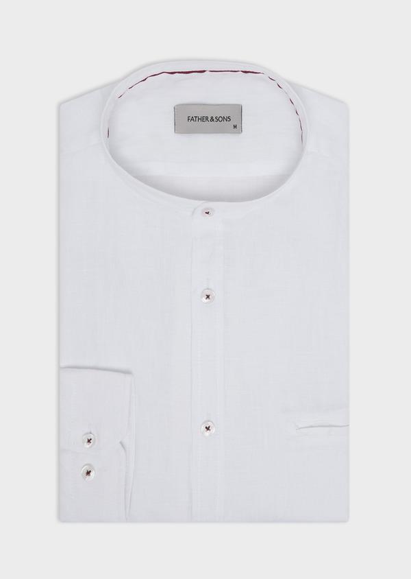 Chemise sport Slim en lin uni blanc à col officier - Father and Sons 34200