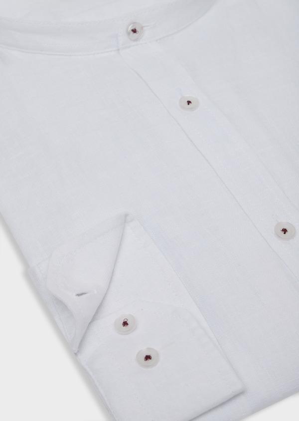 Chemise sport Slim en lin uni blanc à col officier - Father and Sons 34203
