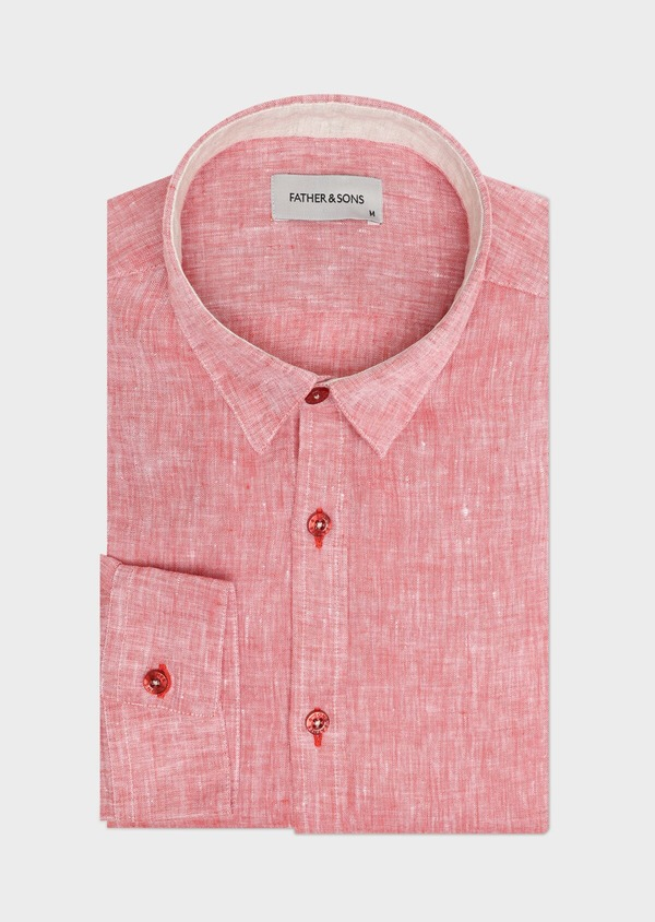 Chemise sport Slim en lin uni rouge - Father and Sons 32514