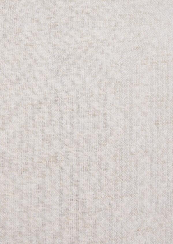 Chemise sport Slim en lin et coton beige à motif fantaisie - Father and Sons 39172